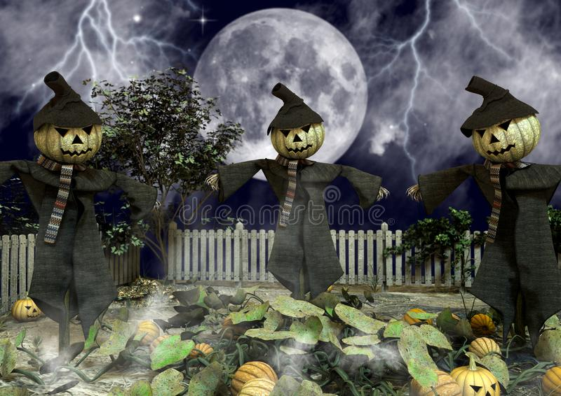 Drei Vogelscheuchen mit Halloween-Kürbisköpfen stock abbildung