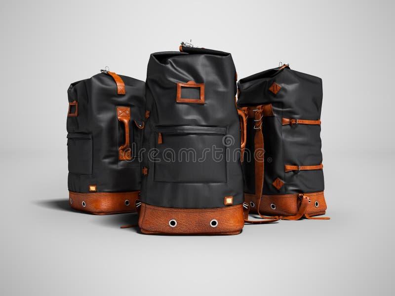 Drei wandernde schwarze Taschen mit ledernen Einsätzen für das Wochenende herein vektor abbildung