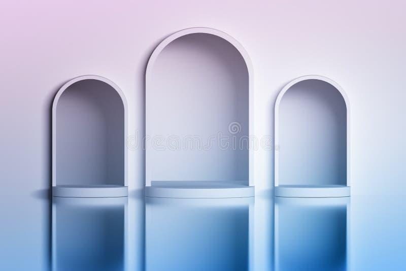 Drei weiße gewölbte Nischen in der Wand über der glänzenden reflektierenden Oberfläche vektor abbildung