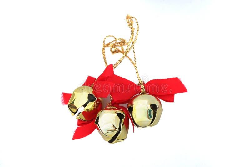 Drei Weihnachten Bell getrennt lizenzfreies stockfoto