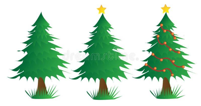 Drei Weihnachtsbäume vektor abbildung