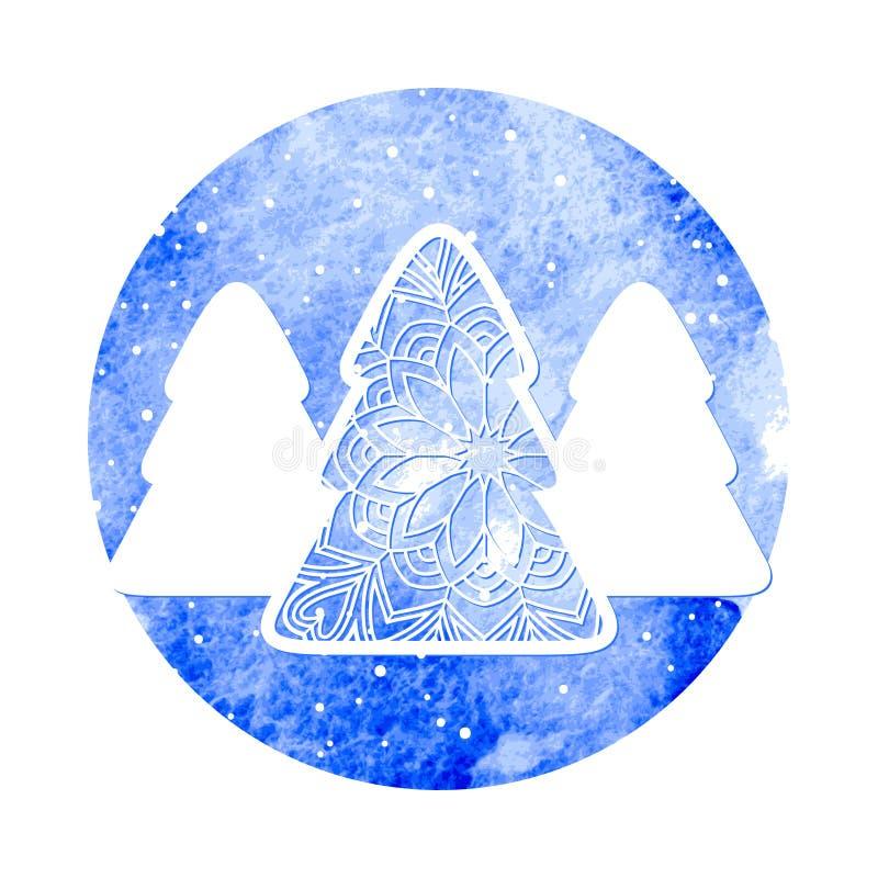 Drei Weihnachtsbäume auf strukturellem Hintergrund des blauen Aquarells vektor abbildung