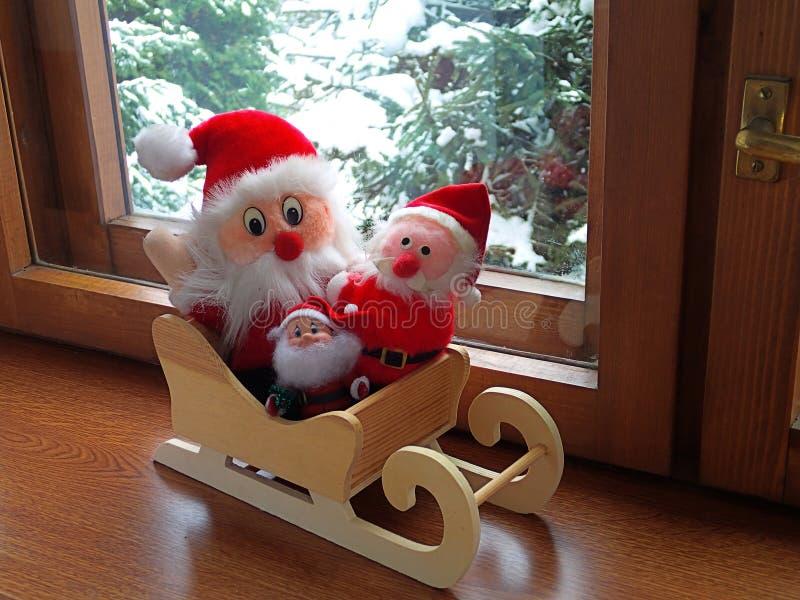 Drei Weihnachtsmann lizenzfreie stockbilder