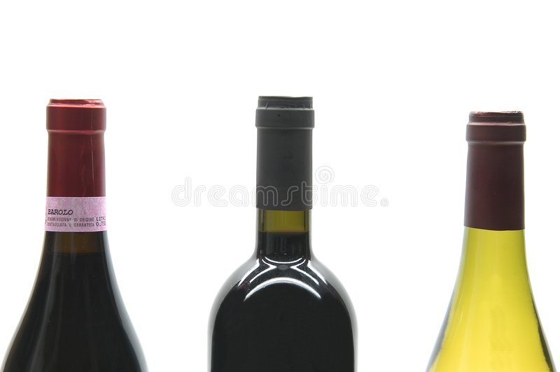 Drei Weinflaschen stockfoto