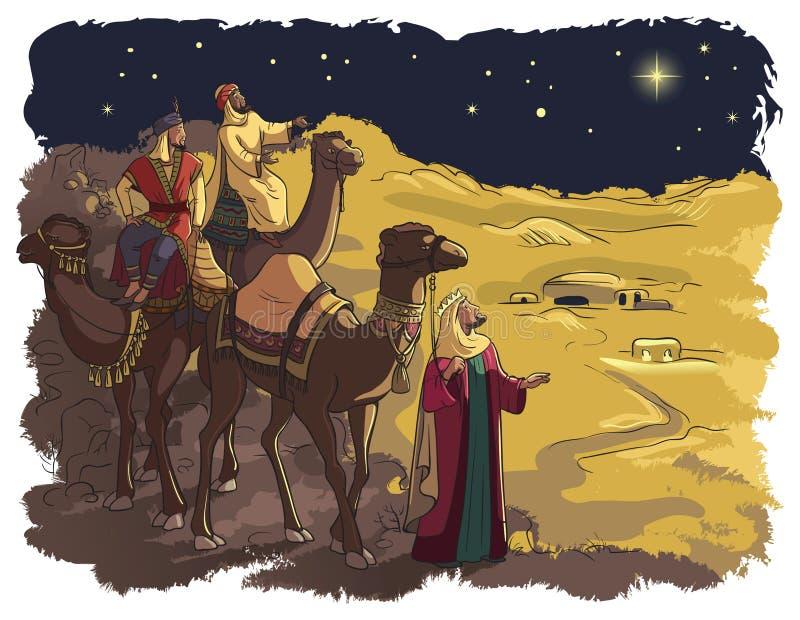 Download Drei Weise Männer, Die Dem Stern Von Bethlehem Folgen Vektor Abbildung - Illustration von männer, partei: 47100403