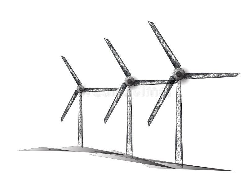 Drei Windmühlen gemacht von den Dreiecken, Linien, Punkte Windkraftanlagefeld Auswechselbare alternative Quellen der elektrischen stock abbildung