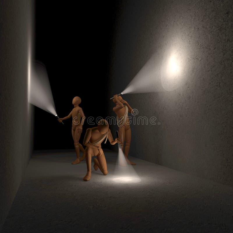 Drei Zahlen, Männer, die Raum, Höhle, Tunnel in der Dunkelheit mit Taschenlampen nachforschen vektor abbildung