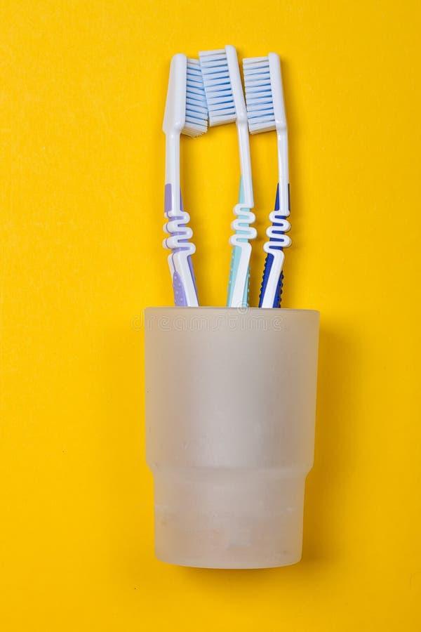 Drei Zahnbürsten in einem Glas stockfoto