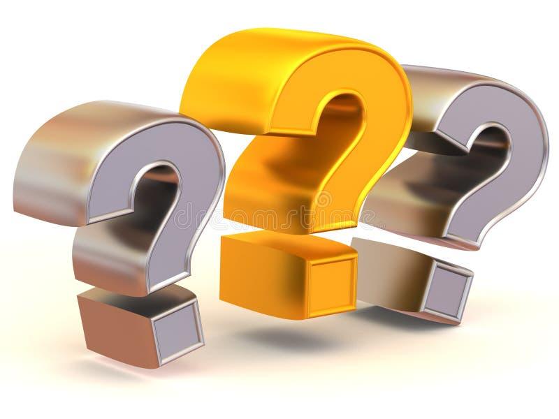 Drei Zeichen auf einer Frage stock abbildung