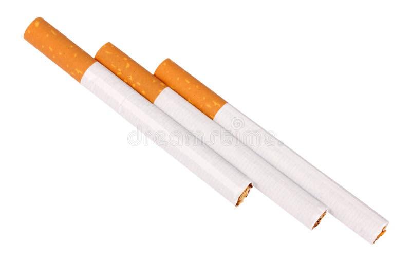 Drei Zigaretten mit Filter stockbilder