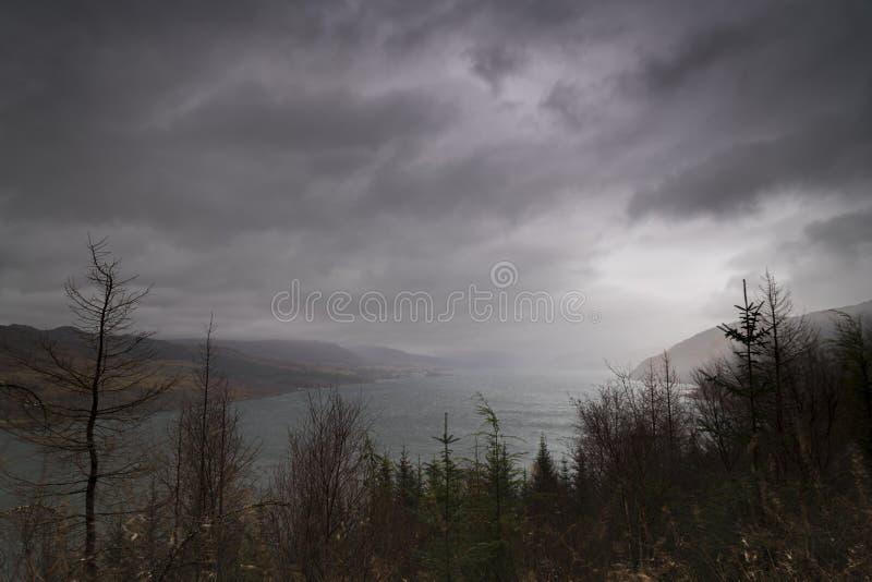 Dreich Loch Carron stock image