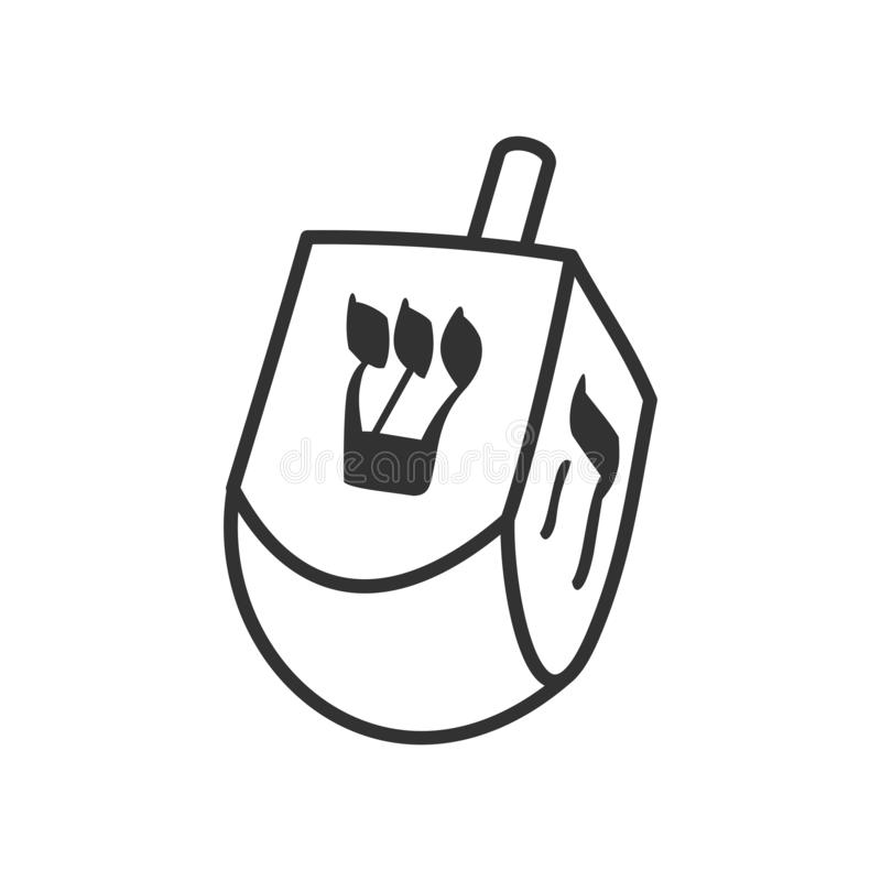 Dreidel Chanukkah Toy Outline Icon på vit stock illustrationer