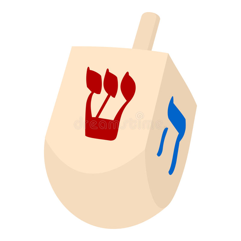 Dreidel Hanoucca Toy Flat Icon sur le blanc illustration stock