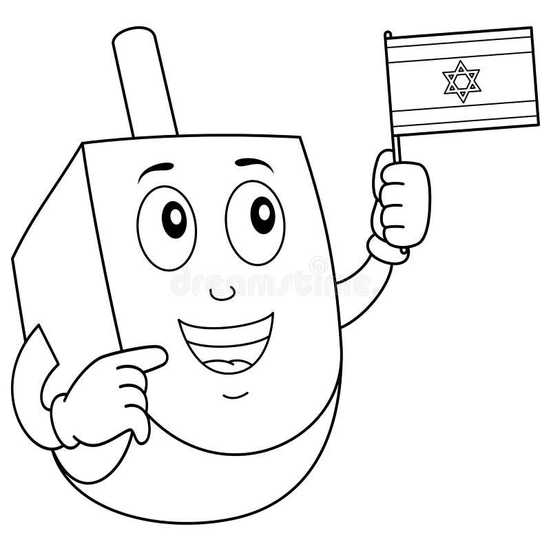 Dreidel heureux de coloration avec le drapeau israélien illustration de vecteur