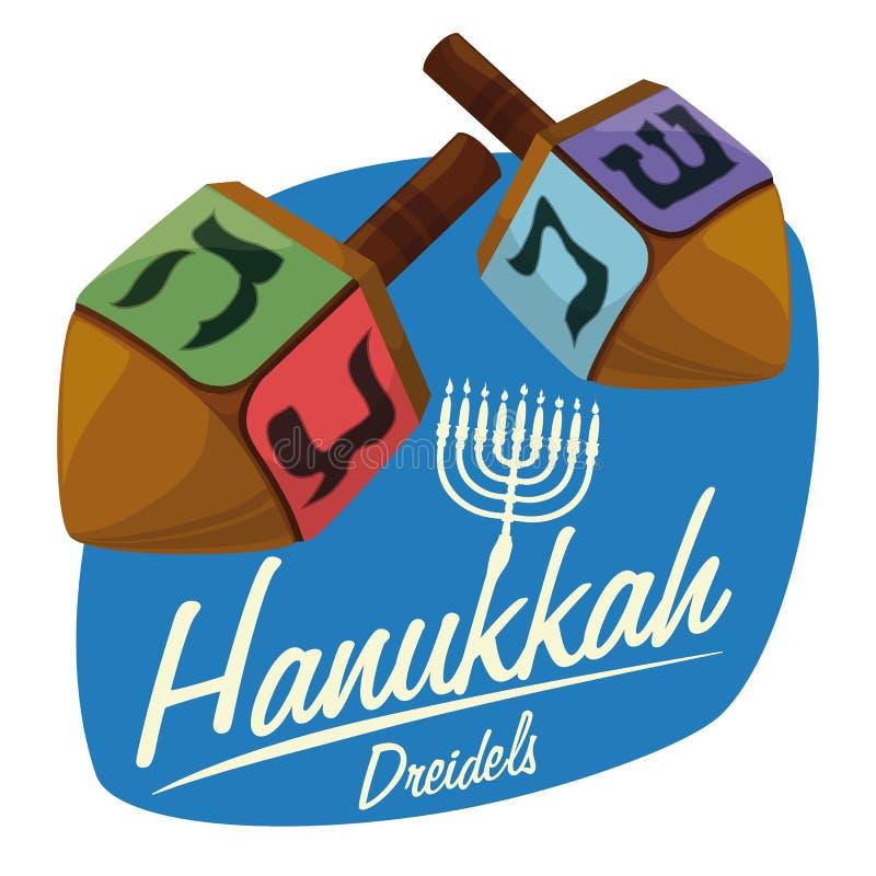 Dreidels de madeira na etiqueta do Hanukkah, ilustração do vetor ilustração stock
