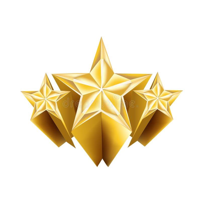 Dreidimensionale goldene Sterne lokalisiert lizenzfreie abbildung