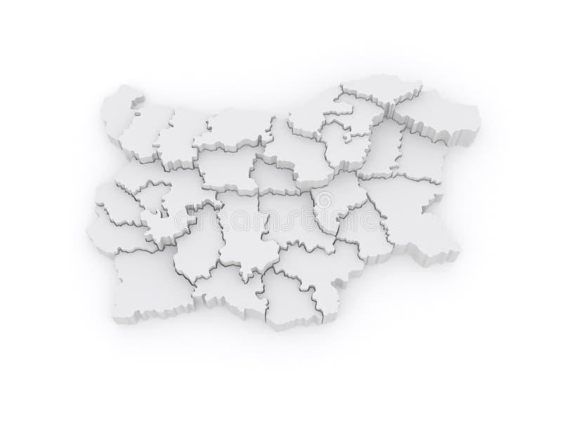 Dreidimensionale Karte von Bulgarien. vektor abbildung