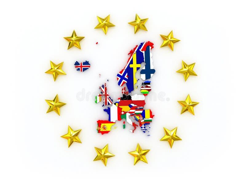 Dreidimensionale Karte von Europa. lizenzfreie stockfotos