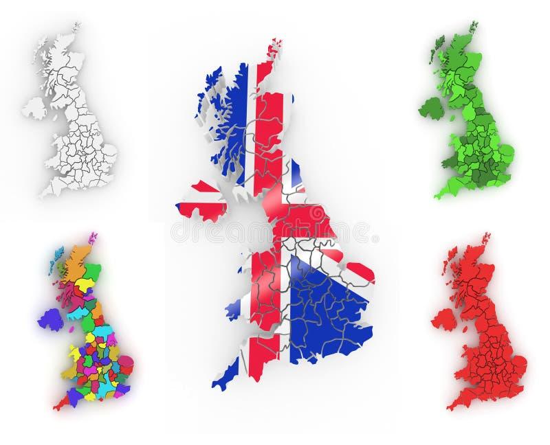 Dreidimensionale Karte Von Großbritannien Lizenzfreie Stockfotografie