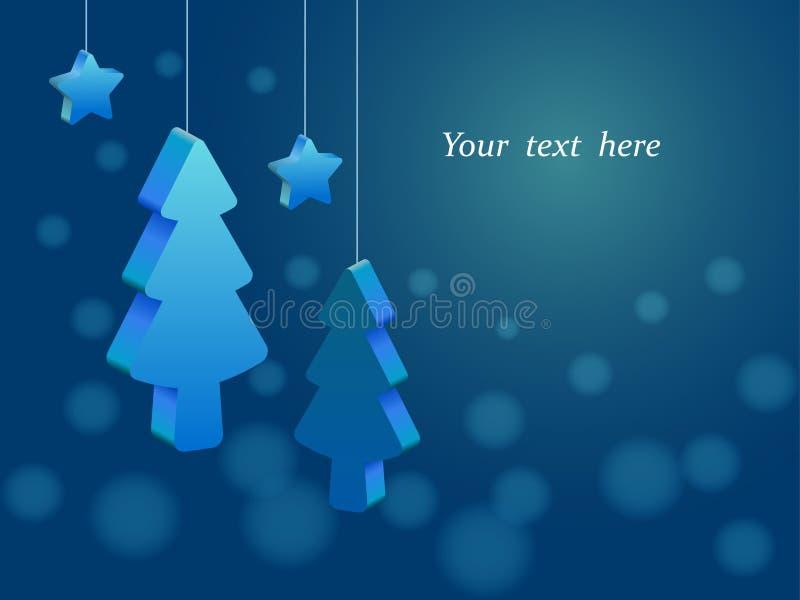 Dreidimensionale Weihnachtsbäume und Sterne, die an den Schnüren, blaues Hintergrund bokeh, Platz für Text hängen vektor abbildung