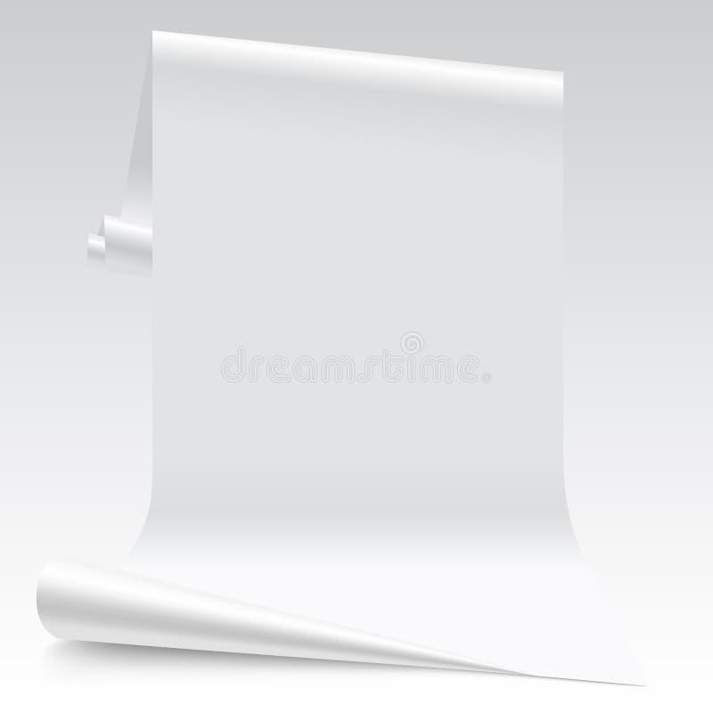 Dreidimensionales beleuchtetes Weißbuchblatt lizenzfreie abbildung