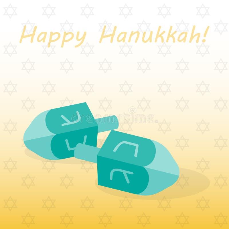Dreidl dois e o Hanukkah feliz da inscrição Ilustração do vetor ilustração royalty free