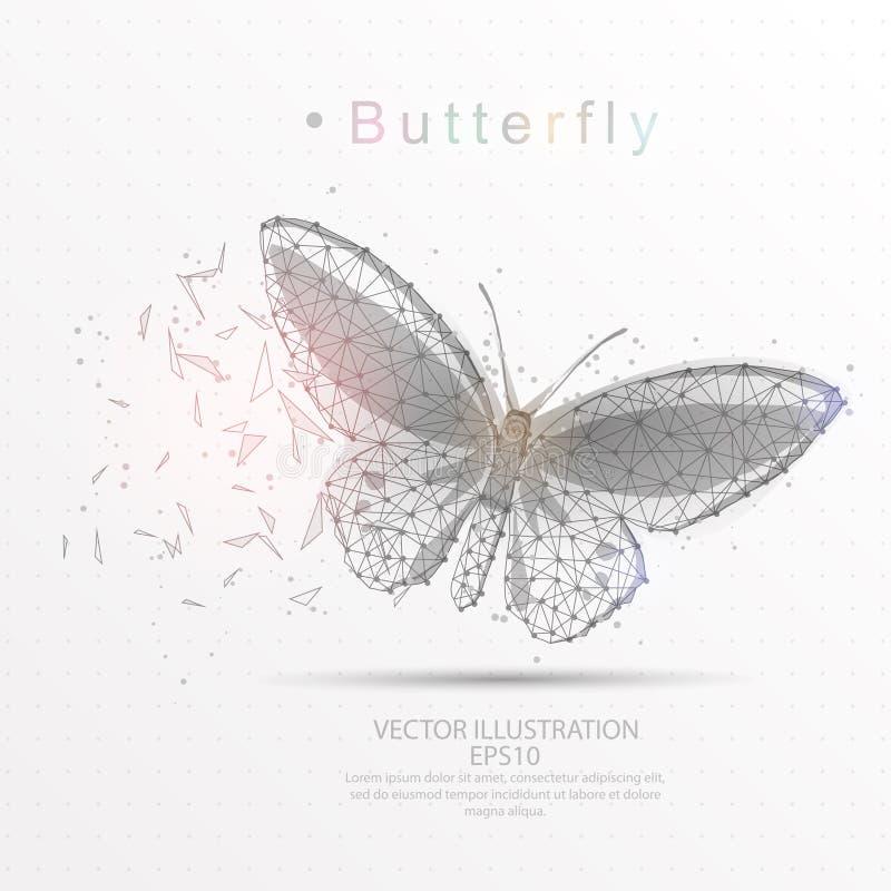 DREIECK-Drahtrahmen des Schmetterlinges digital gezeichneter niedriger Poly vektor abbildung