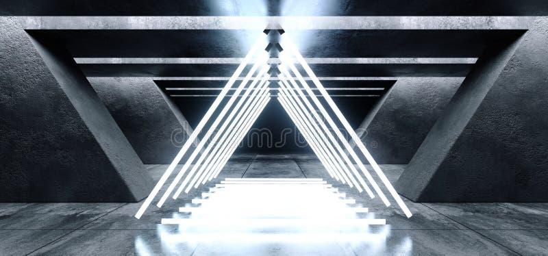 Dreieck formte Laserneonlicht-Schmutz-konkrete moderne leere Raum-Garagen-Untertagetunnel-Galerie-weißes blaues Film- vektor abbildung