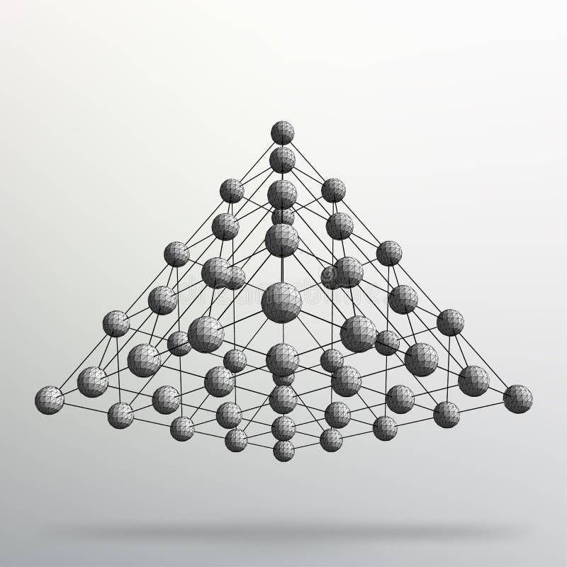 Dreieck-geometrischer Hintergrund Abstrakte chaotische Pyramide 3d Vektorabbildung EPS10 vektor abbildung