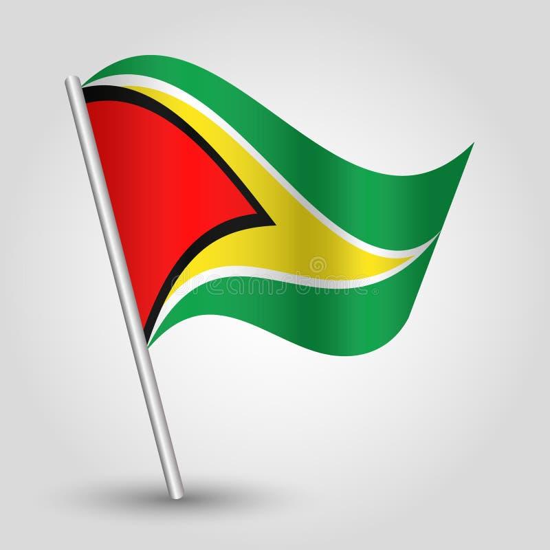 Dreieck-Guyanese-Flagge des Vektors wellenartig bewegende auf schräg gelegenem silbernem Pfosten - Symbol von Guyana mit Metallst lizenzfreie abbildung