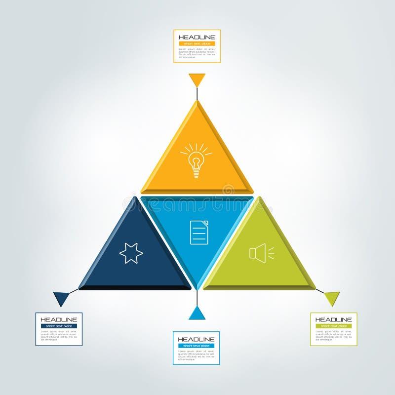 Dreieck, 4 Schritt infographic, Diagramm lizenzfreie abbildung