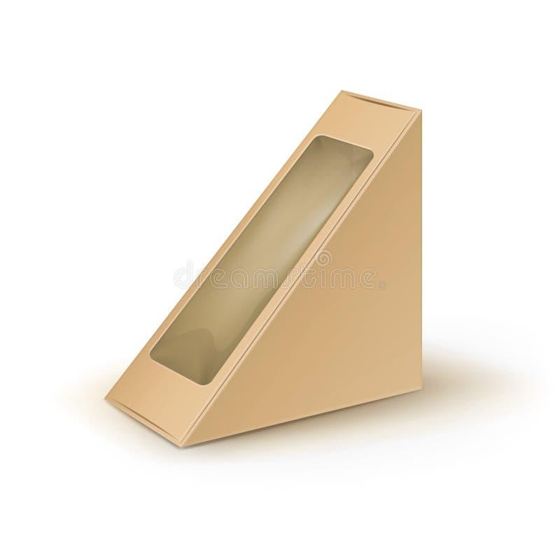 Dreieck Vektor-Brown-freien Raumes Pappnehmen Kasten-Verpackung für Sandwich, Lebensmittel, Geschenk, andere Produkte mit Plastik stock abbildung