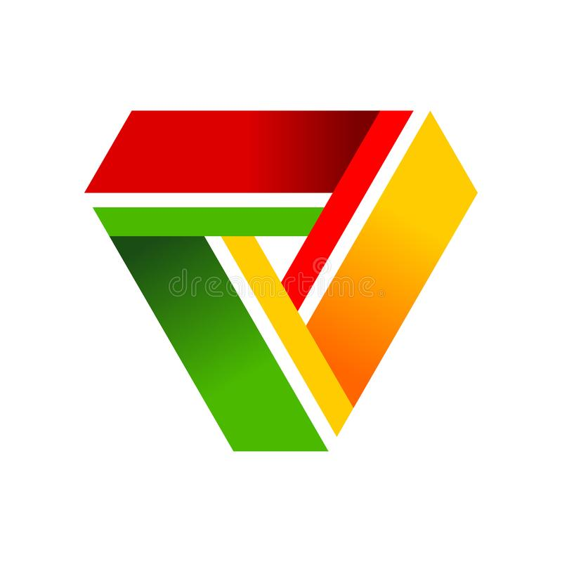 Dreieck-Zusammenarbeits-Zyklus-Symbol Logo Design stock abbildung