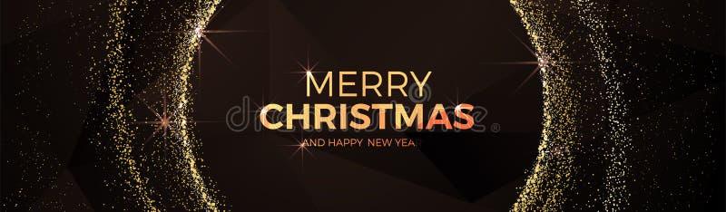 DREIECKart fantastischen Goldballs der frohen Weihnachten und des guten Rutsch ins Neue Jahr niedrige Polyweihnachts vektor abbildung