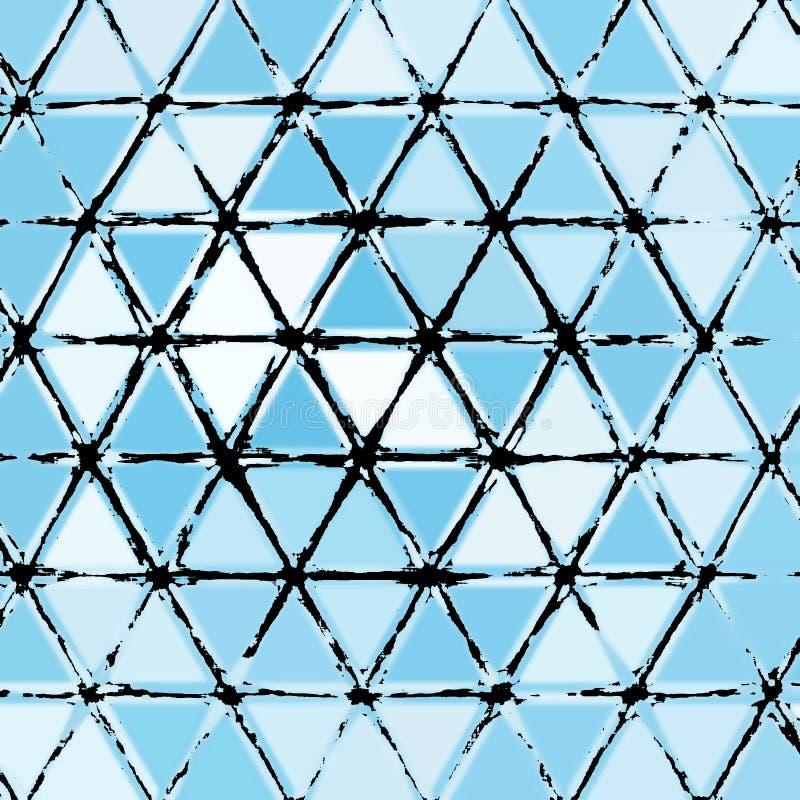 Dreiecke Blau, abstraktes Schwarzweiss-Muster lizenzfreie abbildung