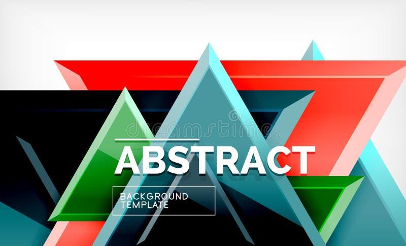 Dreiecke repetiton geometrischer abstrakter Hintergrund, mehrfarbige glatte dreieckige Formen, High-Techer Plakatabdeckungsentwur lizenzfreie abbildung