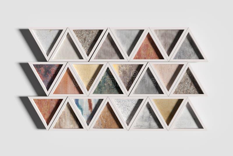 Dreiecke von verschiedenen Materialien in den weißen Rahmen lizenzfreie abbildung