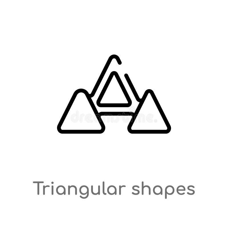 dreieckige Formen des Entwurfs, die Wellenvektorikone bilden lokalisiertes schwarzes einfaches Linienelementillustration vom Geom lizenzfreie abbildung