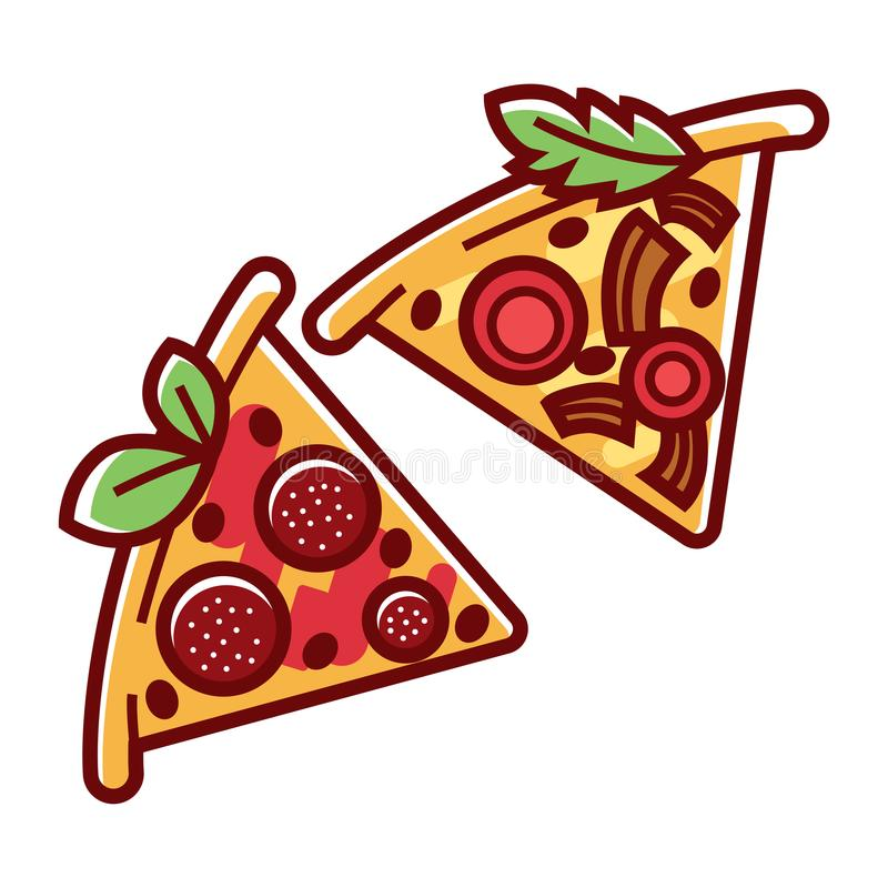 Dreieckige Pizzascheiben mit geschmackvoller Salami, Weichkäse und dem Grün lizenzfreie abbildung