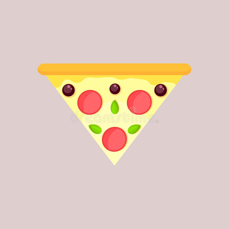 Dreieckige Scheibe der Käsepizza mit Olive, Basilikum und Pepperonis vektor abbildung