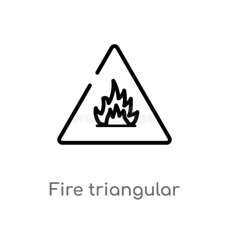 dreieckige Vektorikone des Entwurfsfeuers lokalisiertes schwarzes einfaches Linienelementillustration vom Zeichenkonzept Editable stock abbildung