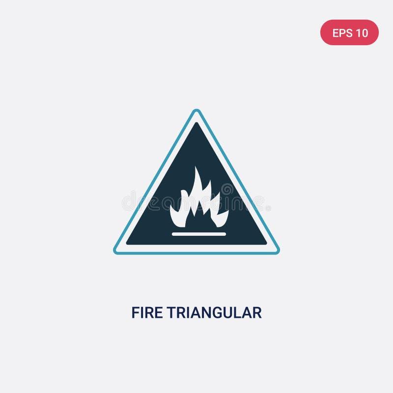 Dreieckige Vektorikone des zwei Farbfeuers vom Zeichenkonzept lokalisiertes Vektor-Zeichensymbol des blauen Feuers dreieckiges ka stock abbildung