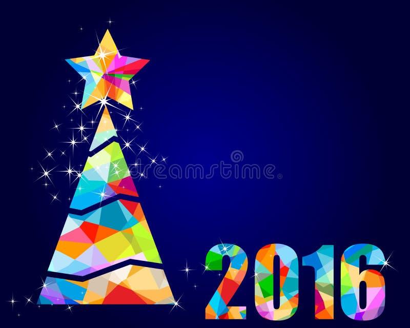 dreieckiges Design 2016 des Weihnachtsbaums lizenzfreie abbildung