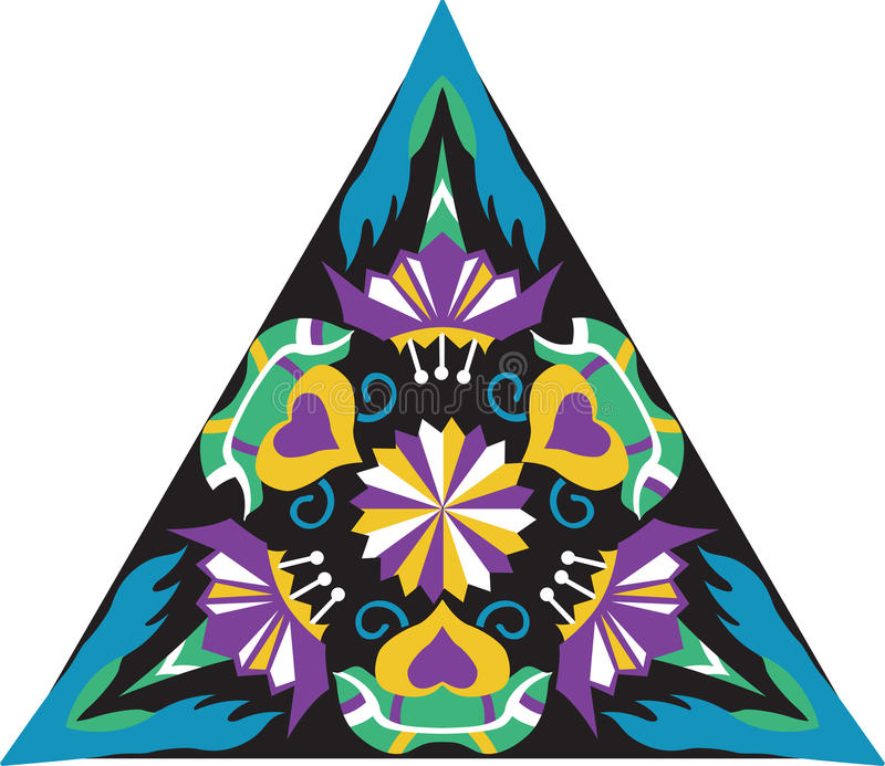 Dreieckiges Muster der orientalischen traditionellen Blume des Vektors stock abbildung