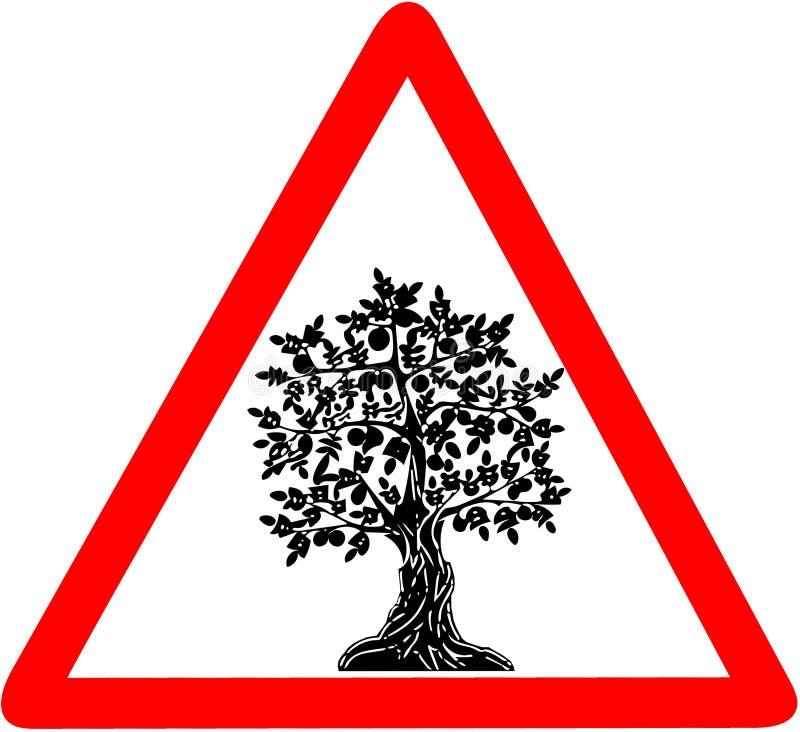 Dreieckiges warnendes Verkehrsschild des Arganbaums auf weißem Hintergrund lizenzfreie abbildung