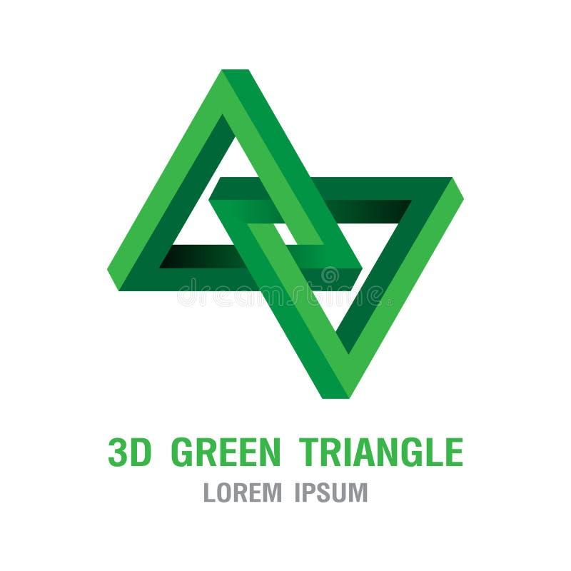 Dreieckikone Grüns der optischen Täuschung 3D Maßfarbentwurfs-Logoillustration geometrische stock abbildung