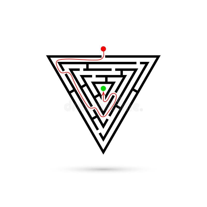 Dreiecklabyrinth mit Weise zu zentrieren Geschäftsverwirrung und Lösungskonzept Flaches Design Vektorillustration lokalisiert auf lizenzfreie abbildung