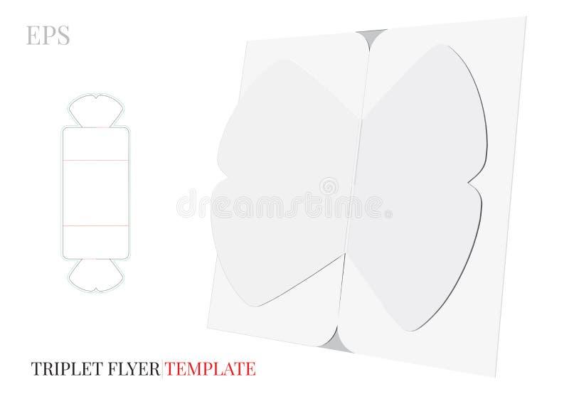 Dreifachgefaltete Bogen-Broschüren-Schablone, Vektor mit den gestempelschnittenen/Laser-Schnittlinien Weiß, freier Raum, klarer,  lizenzfreie abbildung