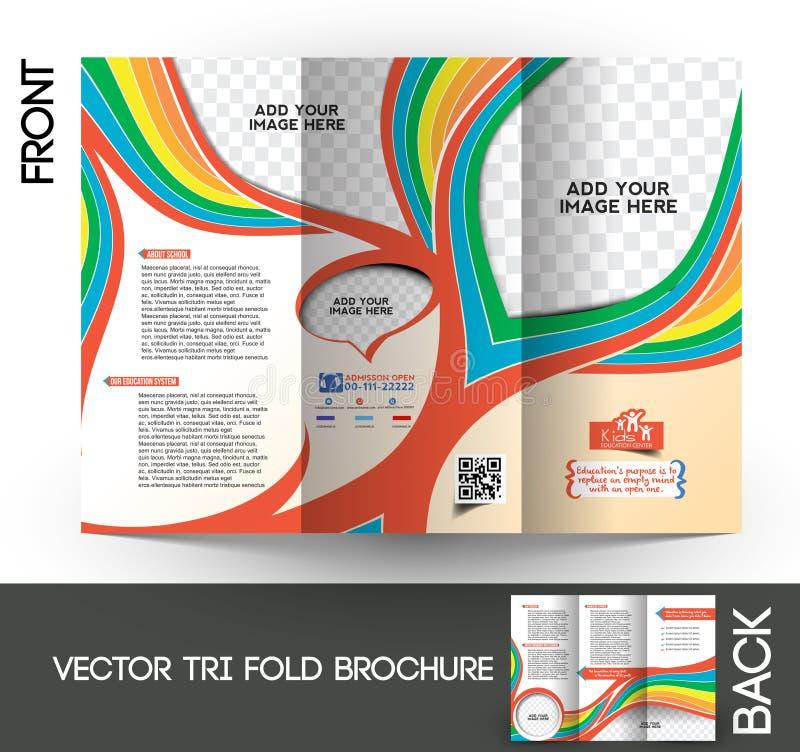 Dreifachgefaltete Broschüre des Kindes Schul stock abbildung