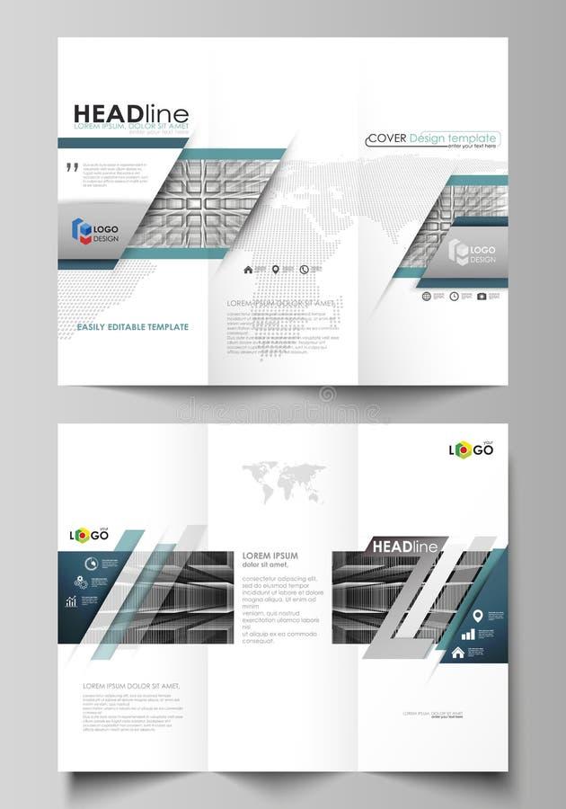 Dreifachgefaltete Broschürengeschäftsschablonen auf beiden Seiten Einfacher editable Vektorplan im flachen Design Abstrakte Unend vektor abbildung